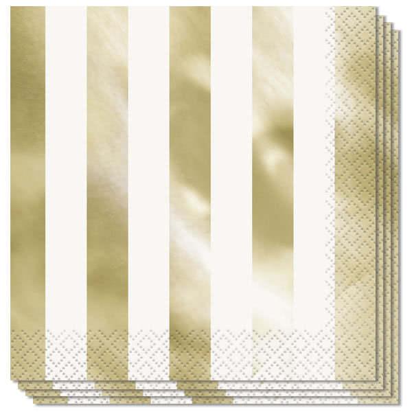Guld med Skinnende Striber Servietter - Pakke med 16