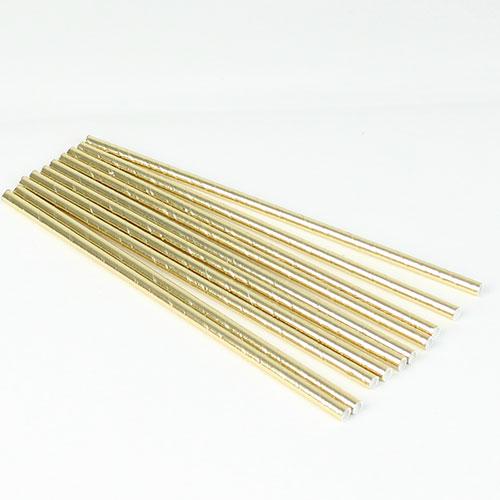 Guld Plastikfolie og Pap Sugerør - Pakke med 10
