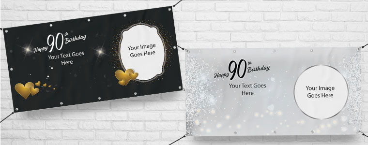 90 års Fødselsdag Bannere med Egen Tekst