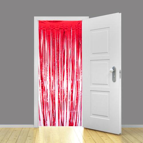 Rødt Metallic Glimmer Forhæng - Single