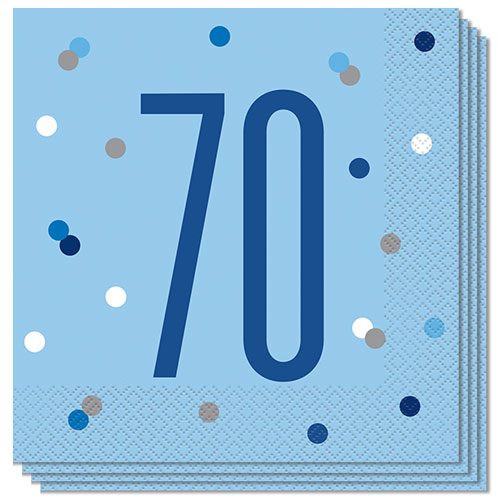 Blue Glitz Age 70 Luncheon Napkins 33cm 2Ply - Pack of 16
