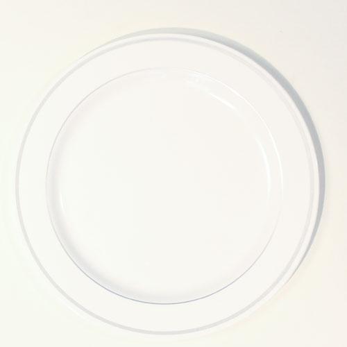 Hvid Plastik Tallerken med Sølv Kant - Pakke med 6