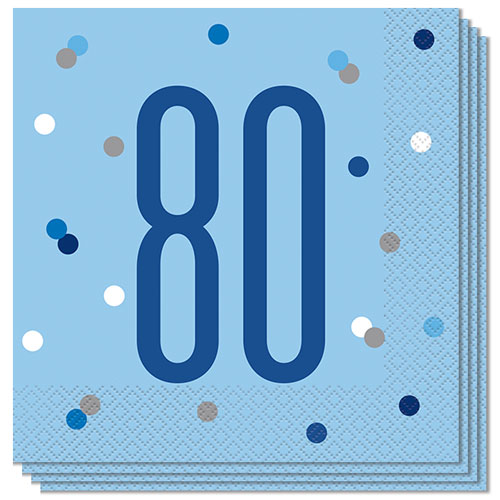 Blue Glitz Age 80 Luncheon Napkins 33cm 2Ply - Pack of 16