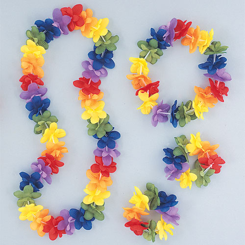 Hawaiian Rainbow Flower Lei Assortment Fancy Dress Set