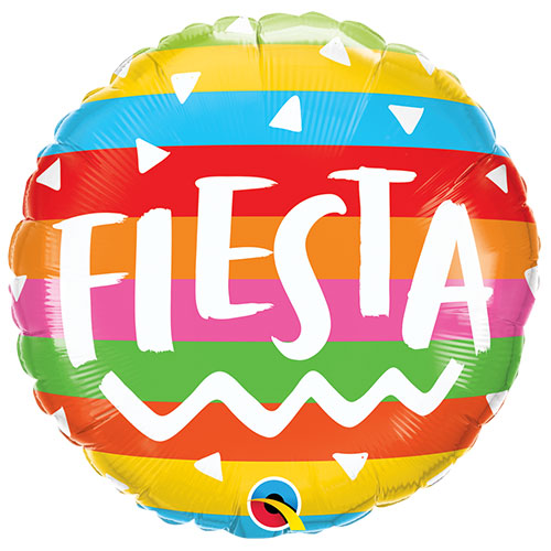 Fiesta Rainbow Stripes Round Foil Helium Qualatex Balloon 46cm / 18 in