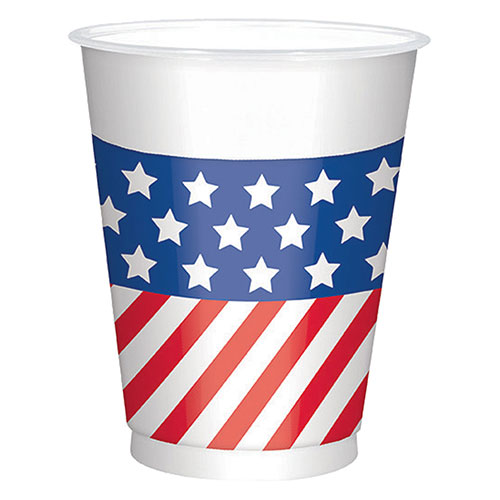 USA Flag Large Plastic Cups 473ml - Pack of 25