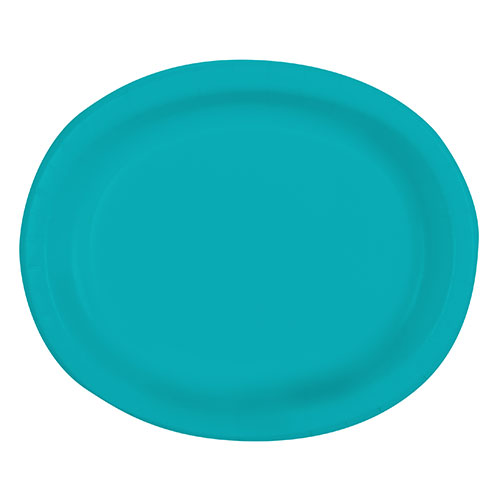 Caribbean Teal Oval Paper Plates 30cm - Pack of 8