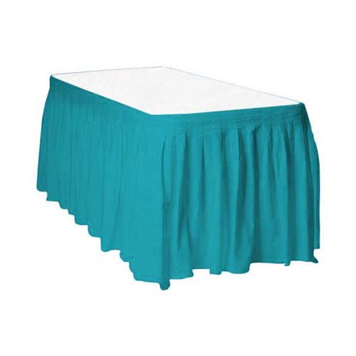 Caribbean Teal Plastic Table Skirt 426cm x 74cm
