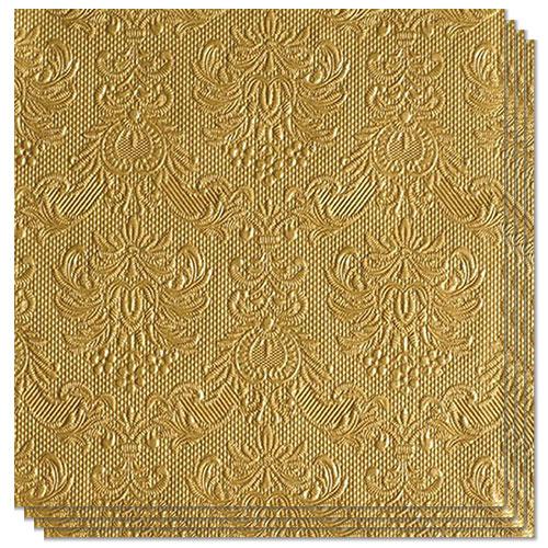 Elegance Metallic Gold Embossed Premium Luncheon Napkins 3Ply 33cm - Pack of 15