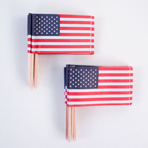 USA Tema Sandwich Flag Pinde - Pakke med 30