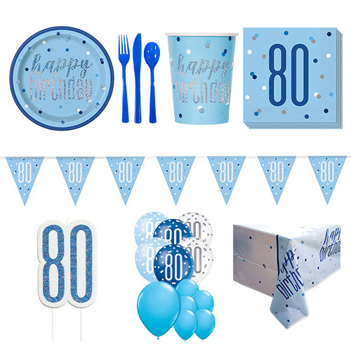 Blue Glitz 80th Birthday 16 Person Deluxe Party Pack