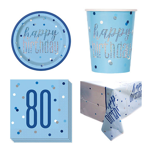 Blue Glitz 80th Birthday 8 Person Value Party Pack