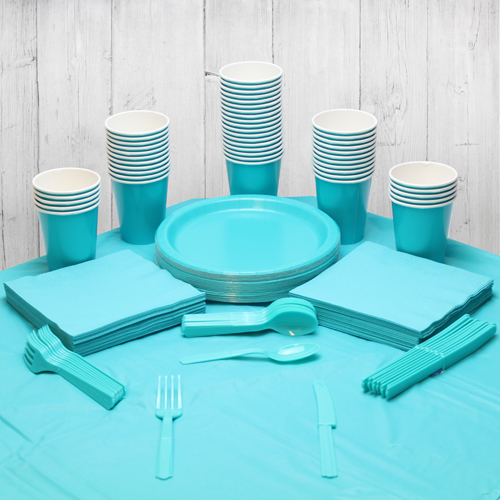 Caribbean Teal 56 Person Party Pack