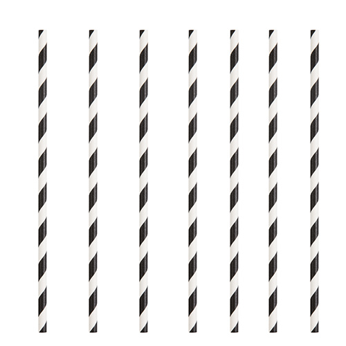 Black Striped Eco-Friendly Paper Straws - Pack of 10