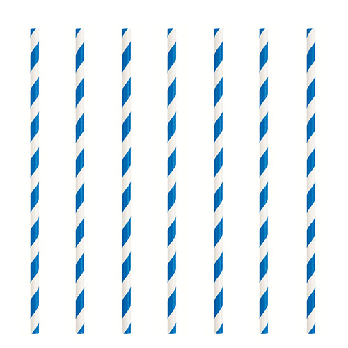Royal Blue Striped Eco-Friendly Paper Straws - Pack of 10