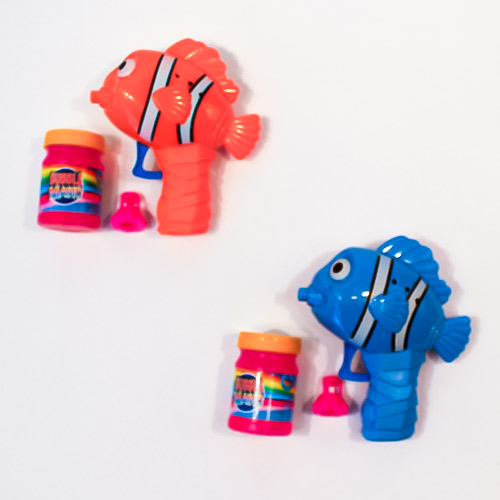 Assorted Clown Fish Friction Bubble Gun with Bubble Solution