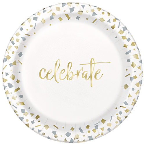 Confetti Gold Celebrate Round Paper Plates 22cm - Pack of 10