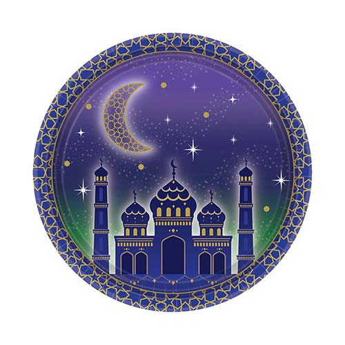 Eid Round Paper Plates 18cm - Pack of 8