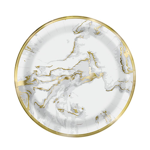 Gold Foil Marble Round Paper Plates 17cm - Pack of 10