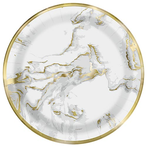 Gold Foil Marble Round Paper Plates 22cm - Pack of 10