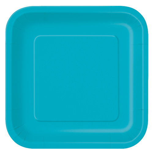 Caribbean Teal Square Paper Plates 22cm - Pack of 14