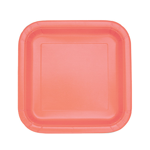 Coral Square Paper Plates 17cm - Pack of 16