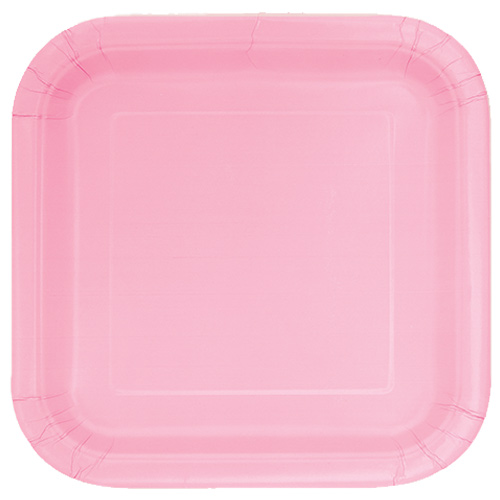 Lovely Pink Square Paper Plates 22cm - Pack of 14
