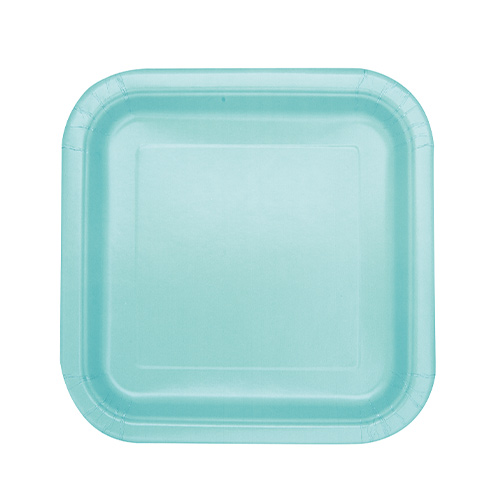 Mint Square Paper Plates 17cm - Pack of 16