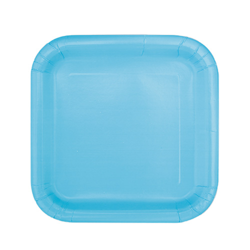 Powder Blue Square Paper Plates 17cm - Pack of 16