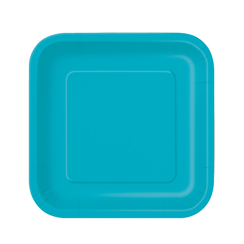 Caribbean Teal Square Paper Plates 17cm - Pack of 16