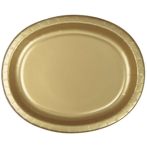 Gold Oval Paper Plates 30cm - Pack of 8