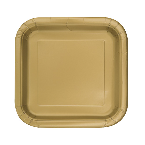 Gold Square Paper Plates 17cm - Pack of 16