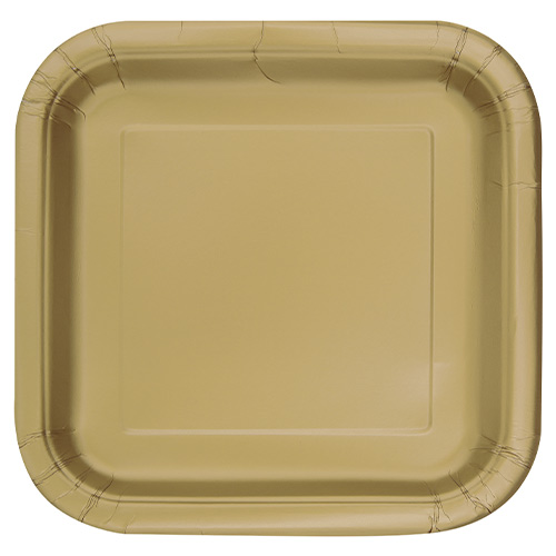 Gold Square Paper Plates 22cm - Pack of 14