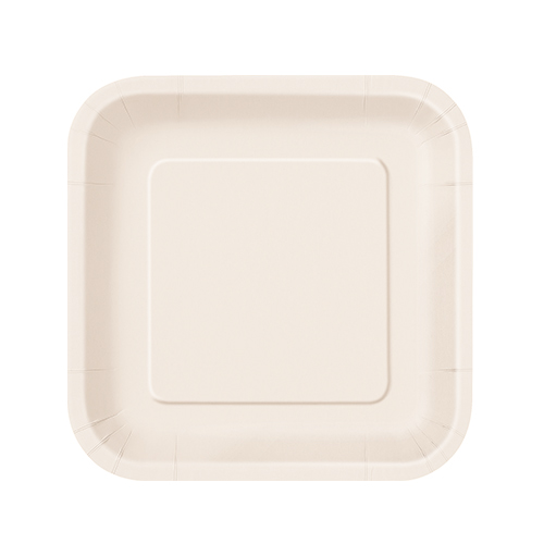 Ivory Square Paper Plates 17cm - Pack of 16