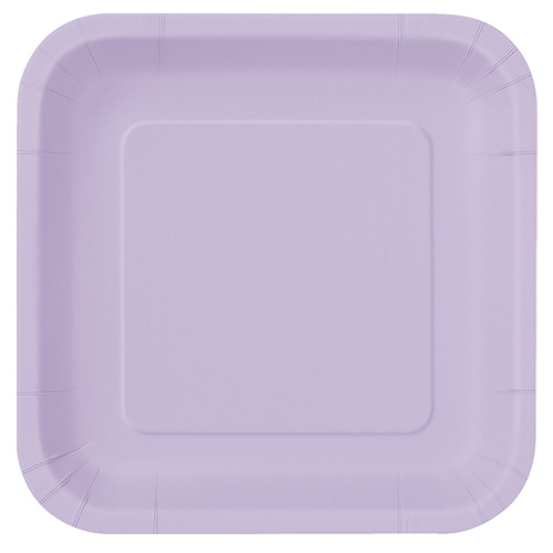 Lilac Square Paper Plates 22cm - Pack of 14