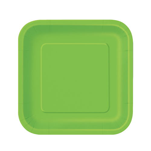 Lime Green Square Paper Plates 17cm - Pack of 16