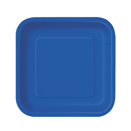 Royal Blue Square Paper Plates 17cm - Pack of 16
