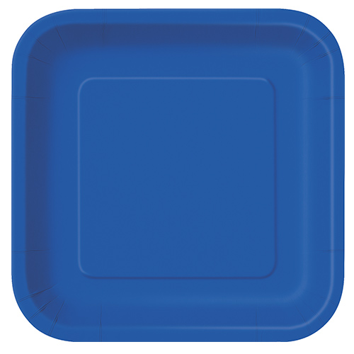 Royal Blue Square Paper Plates 22cm - Pack of 14