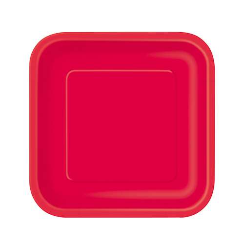 Ruby Red Square Paper Plates 17cm - Pack of 16