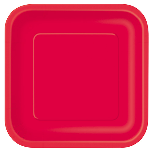 Ruby Red Square Paper Plates 22cm - Pack of 14